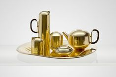 6 piece brass tea service by Tom Dixon for his new Eclectic line.