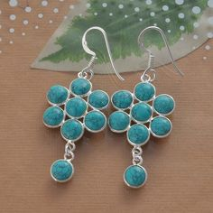 925 SOLID STERLING SILVER AMAZING TURQUOISE EARRING 4.78g DJER1496 #Handmade #EARRING