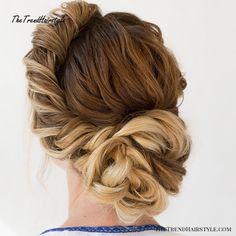 10 Beautiful Prom Updo for Long Hair Box Braids Hairstyles, Wedding Hairstyles For Medium Hair, Latest Hairstyles, Cool Hairstyles, Updo Hairstyle, Formal Hairstyles, Hairstyle Ideas, Hairstyle Wedding, Hair Wedding