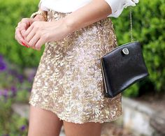 to do: sequined mini with white button down