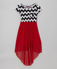 Take a look at this Red & Black Zigzag Hi-Lo Dress by Ruby Rox on #zulily today!