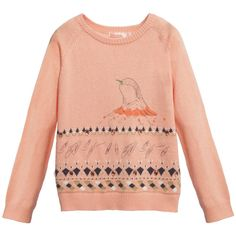 Girls peachy pink sweater by <span>Billieblush, made with a fine knitted cotton blend. It has a bird print on the front, with a woven navy blue pattern, featuring glittery gold thread details and pink gems. The cuffs, collar and hem have woven ribbing, giving extra shape.<br /></span> <ul> <li>40% polyamide, 30% cotton, 30% viscose (fine knitted feel)</li> <li>Machine wash (30*C)</li> <li>True to size fitting</li> </ul>