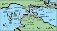 Mackinac Straits Michigan Lighthouse Map
