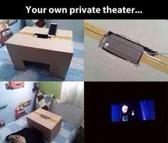 iPhone cardboard box theatre. Funny gag present but actually pretty neat