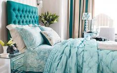 Rich jewel-toned colors make this bedroom design lovely
