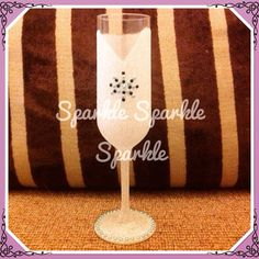 White glitter champagne flute with diamonte detail. Simple yet stunning www.facebook.com/sparktacularcreations xx