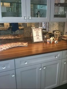 love the antiqued mirror backsplash w/ white cabinets & wood countertops. The Relished Roost: House Beautiful 2012 Kitchen of the Year. Kitchen Dining, Kitchen Decor, Kitchen Ideas, Kitchen Hutch, Condo Kitchen, Dining Room, Mirror Backsplash Kitchen, Backsplash Ideas, Beautiful Homes