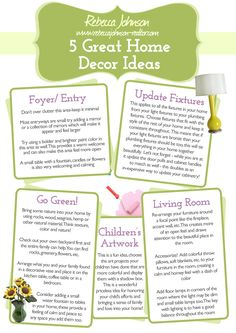 5 Great Home Decor Ideas: Read the full article here: http://rebeccajohnson-realtor.com/blog.php?view=item=4304