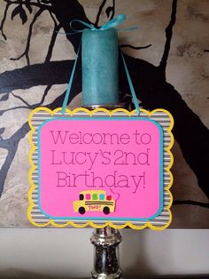 Girly Wheels on the Bus Theme Birthday Welcome Door sign in Pink by SharpAndChic, $15.00