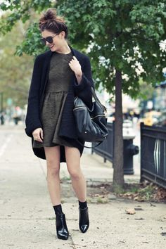 New York City Fashion and Personal Style Blog: Chunky knit sweater, textured mini dress, patent leather ankle booties