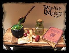 Dollhouse Miniature Witches Potion making scene OOAK 1:12