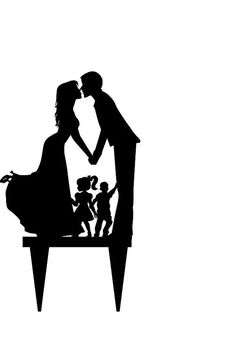 acrylic Wedding Cake Topper Silhouette, Bride and Groom and little girl and boy topper, happy family wedding cake topper, Kirigami, Wedding Favours, Wedding Cakes, Silhouette Curio, Boy Silhouette, Friends Sketch, Wedding Gifts For Bride And Groom, Wedding Dress Hanger, Top Wedding Trends