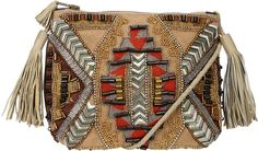 Antik Batik Petite pochette en cuir, perles graphiques et tissage Inka