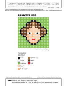 Princess Leia Perler Pattern /// We add new patterns to our blog every week…