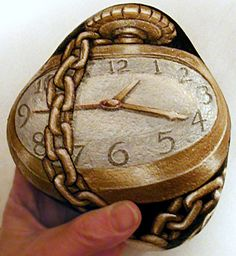Painted Rock: Big Pocket Watch by Sue Beatrice
