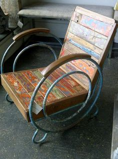 Vintage arm chair with Art Deco style and paint layers