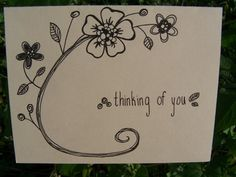 Thinking of You Hand drawn Card - Tan Floral Swirl - whimsical via Etsy