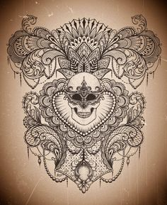 design by Dzeraldas Jerry Kudrevicius, atlantic coast tattoo, beautiful lace mandala mendi skull idea t-shirt, tattoo design. lotus flower.