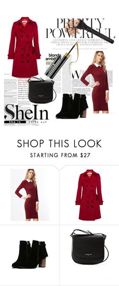 """Burgundy Contrast Collar And Cuff Sheath Dress"" by zerina913 ❤ liked on Polyvore featuring Burberry, Lancaster and shein"
