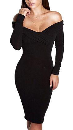 Booty Gal Women's Party Off The Shoulder Bodycon Sexy Midi Evening Dress Silm *** Click image to review more details. (This is an affiliate link and I receive a commission for the sales)