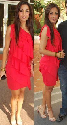 malaika arora khan. Red dress with nude heels.