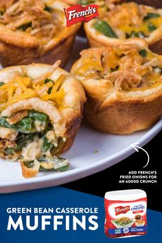 All the delicious flavors of classic French's® Green Bean Casserole baked into buttery crescent roll cups! Top 'em with shredded Cheddar cheese and French's® Crispy Fried Onions for the perfect finish. Thanksgiving Appetizers, Thanksgiving Recipes, Fall Recipes, Holiday Recipes, Holiday Appetizers, Vegetable Dishes, Vegetable Recipes, Vegetarian Recipes, Cooking Recipes
