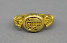 """Stirrup-shaped Ring with Oval Bezel and """"Java Kuno"""" Period: late Central Javanese period Date: Second half of the 9th–first quarter of the 10th century Culture: Indonesia (Java) Medium: Gold"""