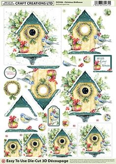 Craft Creations Die Cut Decoupage Christmas Birdhouse