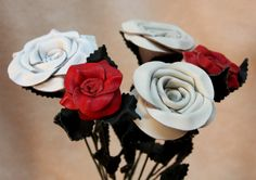 Leather Rose Bouquet 5 roses 3rd Anniversary Gift by LeatherNstuff