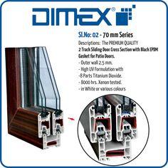 Dimex uPVC 70mm Series, 2 Track Sliding Door Cross Section