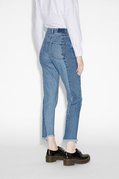 Monki Image 3 of Kimomo two blue in Blue 90s Mom Jeans, Monki, Organic Cotton, Contrast, Cupboard Shelves, Pants, Blue, Denim, Image