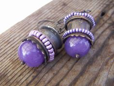 Rustic Copper Earrings with Purple Jade by annamei on Etsy,