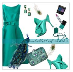 """""""Mrs. Peacock"""" by ultracake ❤ liked on Polyvore featuring P.A.R.O.S.H., N°21, Brooks Brothers, Gucci, Maybelline, fashiontrend, peacock, statementshoes, embellishedshoes and ultracake"""
