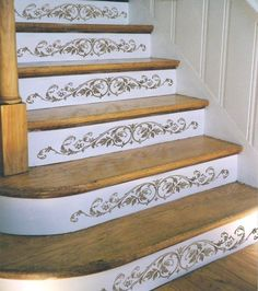 DIY home decor stair stencil Westbury stair step - stencils for classic decor - stencils - stencils for stairs - wall - Cutting Edge Stencils offers the best stencils for DIY decor – stencils designed by professional - Stenciled Stairs, Painted Stairs, Painted Staircases, Image Deco, Escalier Design, Stair Walls, Hardwood Stairs, Hardwood Floors, Flooring