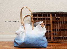 CANVAS TOTE BAG Blue with leather strapmedium size by cocosheaven