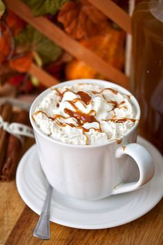 Pumpkin Spice Lattes- part of the recipe is a homemade pumpkin spice syrup you can add to anything- hot chocolate, coffee, etc.!