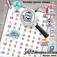 Appliance Stickers, Printable Planner Stickers, House Stickers, Erin Condren, Kawaii Stickers, Planner Accessories, Home Stickers, Chores