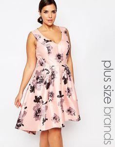 34a42caab21d Shop Chi Chi London Plus Plunge Front High Low Midi Dress In Floral Print  at ASOS. Japan DesignPlunging V Neck ...