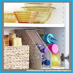 DIY And Household Tips: Use Dollar Store Magazine Racks To Keep Water Bott...