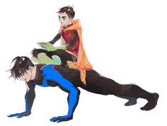 Nightwing & Robin. Dick Grayson & Damian Wayne.