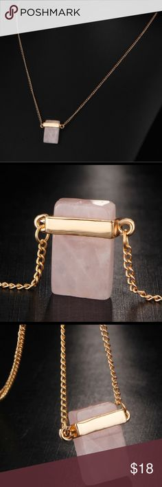 Boho style stone statement pendant necklace. Gold plated, creamy pink color, gorgeous! Jewelry Necklaces