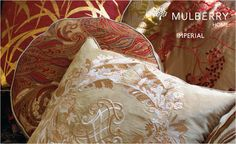 Mulberry Home at Lee Jofa These are my kind of pillows,love these colors to decorate my home! Gp&j Baker, Mulberry Home, Lee Jofa, Home Wallpaper, Pillows, Pattern, Collection, Ethnic, Archive