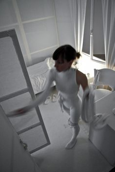 """""""White room"""" Valentina Stepan 2011. Spatial installation/ambience and performance. Photo: Ivan Vranjić"""