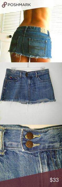 Abercrombie and Fitch distressed Mini Jeans Skirt. Abercrombie and Fitch distressed Mini Jeans Skirt  100% Cotton  waist is 30 inches 11.5 inches long.  $33 Abercrombie & Fitch Skirts Mini