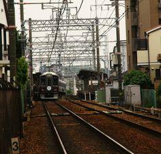 Hankyu Train in Ashiya, Kobe, Japan. 4jun14.