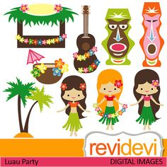 Clipart Luau Party 07419.. Commercial use digital clip arts.. Hawaiian girls, tiki bar,banjo, coconut tree images. $4.95, via Etsy.