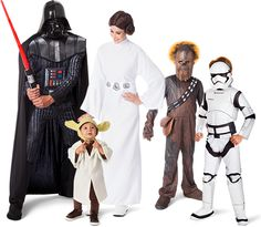 family in assorted Star Wars costumes