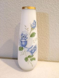 Vintage Norleans Japan Frosted Milk Glass Blue Rose Painted