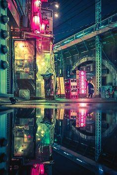 Reflection of Neo-Tokyo Art Print by tokyoluv - X-Small Cyberpunk Aesthetic, Cyberpunk City, Futuristic City, Neo Tokyo, Tokyo City, Tokyo Japan, Dreamy Photography, City Photography, Night Aesthetic