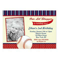All-Star Baseball Birthday Party Invitations